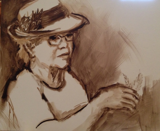 Draw image onto the canvas  with a brush, turpentine and raw umber, getting the composition down.
