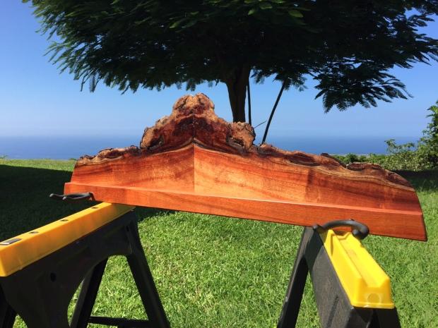 Koa double ukulele rack