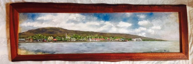 Kailua Kona painting with Koa frame