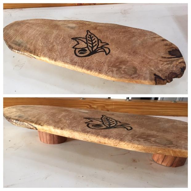 mango presentation platter with ohia feet, custom carving